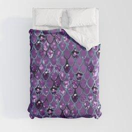Purple Teal Mermaid Scales Glam #1 #shiny #decor #art #society6 Duvet Cover