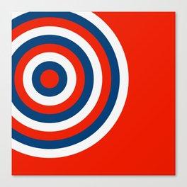 Retro Circles Pop Art - Red White & Blue Canvas Print