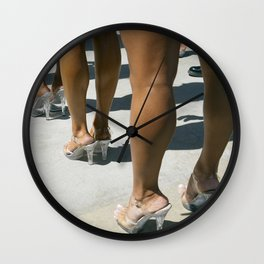 Back stage Stilettos at Muscle Beach Wall Clock