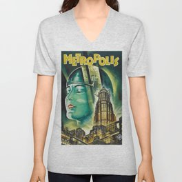 Vintage 1926 'Metropolis' Lobby Card Movie Film Poster by Fritz Lang Unisex V-Neck