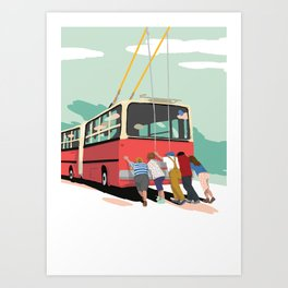 Trolleybus - Budapest Art Print