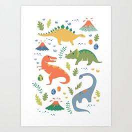 Dinos + Volcanoes Art Print
