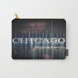 Rusted Chicago Railroad Tender Fading Letters Rivets Metal Carry-All Pouch