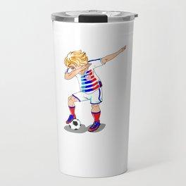 USA Soccer Player Dab Travel Mug