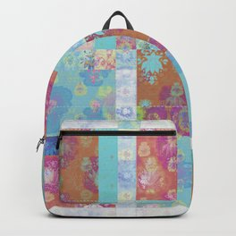 Lotus flower turquoise and apricot stitched patchwork - woodblock print style pattern Backpack