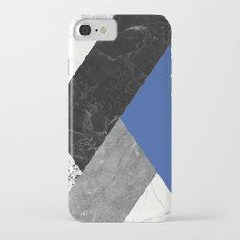 Black and White Marbles and Pantone Lapis Blue Color iPhone Case