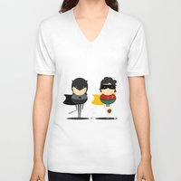 super heroes V-neck T-shirts featuring Heroes & super friends! by Juliana Rojas | Puchu