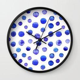 Blue polka dot watercolor pattern Wall Clock