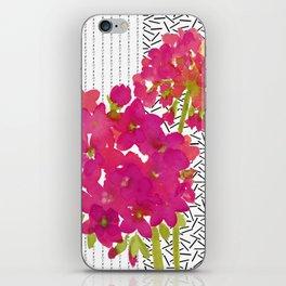 Vibrant Pink Geranium on Black and White Geometric Ground iPhone Skin