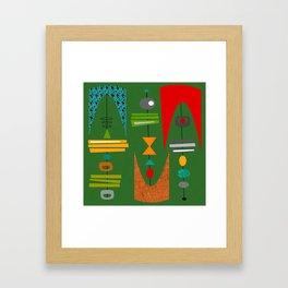 Mid-Century Modern Green Tiki Tok Framed Art Print