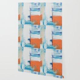 abstract orange white grey aqua blue turquoise paint brush stroke Wallpaper