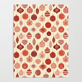 Christmas Ornaments Red Pink Beige Pattern Poster
