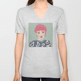 Pink Haired Asian Girl Portrait - Papaya Pattern - Braid Crown - Winged Eyeliner Unisex V-Neck