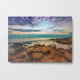 Sunset Over Rocky Coast Metal Print