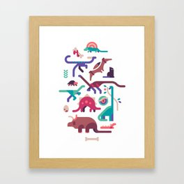 Dinos and a cat Framed Art Print