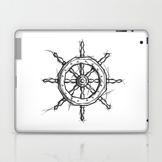 rudder handmade drawing, art sketch, timone, illustration laptop & ipad skin