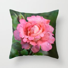 Lacy Pink Rose Throw Pillow