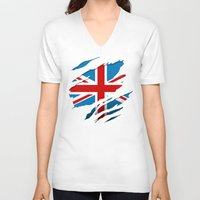 british flag V-neck T-shirts featuring British Flag Pride by northside