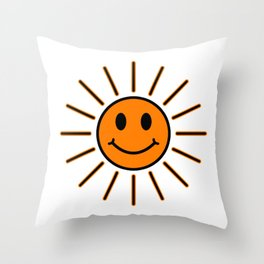 Sun Smiley in orange color - EFS190 Throw Pillow
