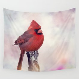 Male Northern Cardinal perches on a stump Wall Tapestry