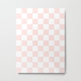 Checkered - White and Pastel Pink Metal Print