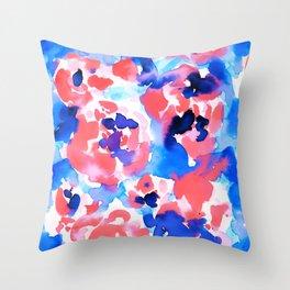 Abstract Flora Blue Throw Pillow