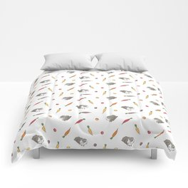 Carrot and Silkie Guinea Pig pattern in White Background Silkie Guinea Pigs illustration Comforters