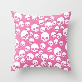 Random Pink Skull Pattern Throw Pillow