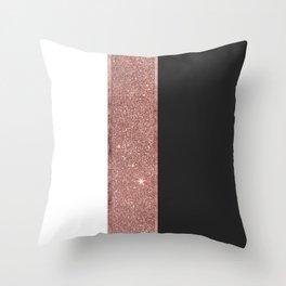 Modern Rose Gold Glitter Black White Color Blocks Throw Pillow
