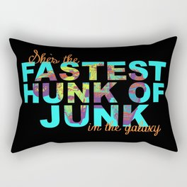 Star Wars Millennium Falcon Fastest Hunk of Junk Bright Colors Orange Writing Rectangular Pillow