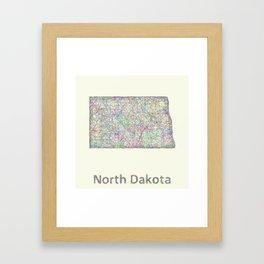 North Dakota map Framed Art Print