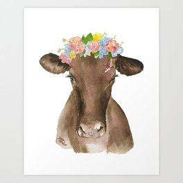 Brown Cow with Floral Wreath Art Print