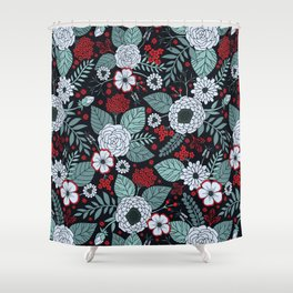 Red, Gray, Aqua & Navy Blue Floral/Botanical Pattern Shower Curtain