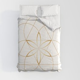 Modern Minimalist Sacred Geometry Symbol, Geometric Flower of Life in Gold and White Abstract Luxury Comforters