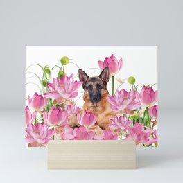German Sheep Dog Lotos Field Mini Art Print