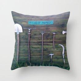 In Case Of Zombies Garden Nightmare Humor Throw Pillow