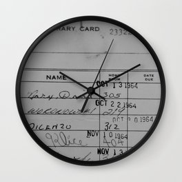 Library Card 23322 Gray Wall Clock