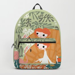 Girl with flamingo and Henri Matisse inspired decoration, vector illustration Backpack