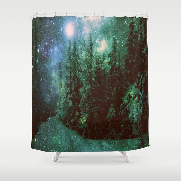 Galaxy Winter Forest Green Shower Curtain