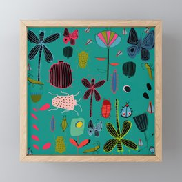 bugs and insects green Framed Mini Art Print