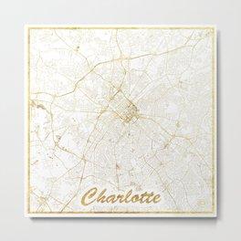 Charlotte Map Gold Metal Print