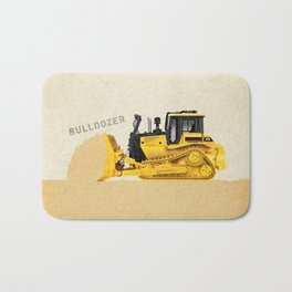 Construction Bulldozer Bath Mat