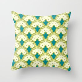 Fan Pattern Chartreuse Throw Pillow