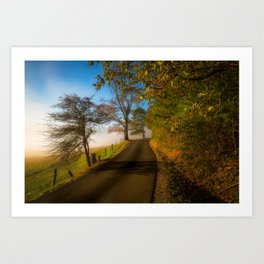 Smoky Morning - Whimsical Scene in Great Smoky Mountains Art Print