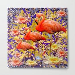Tropical Flamingos & Peach-Yellow Water Lilies Metal Print
