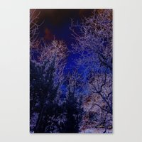 psychadelic Canvas Prints featuring Psychadelic trees frame the moon by Cheryl - DevilBear Photography
