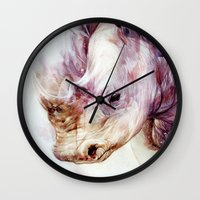 rhino Wall Clocks featuring RHINO by beart24