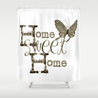 home sweet home Shower Curtains featuring Home Sweet Home Sepia by CatDesignz