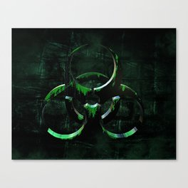 Green Grunge Biohazard Symbol Canvas Print