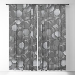 Hockey pucks Sheer Curtain